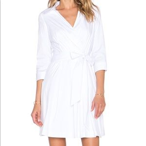 Pleated Wrap Dress in White